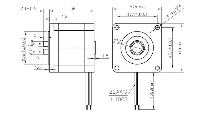 Hollow shaft NEMA23 stepper motor for CNC machine, View