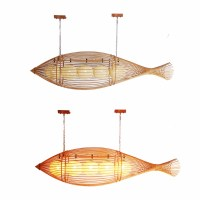 Retro Wooden Home Decorative Vintage Bamboo Fish Pendant ...