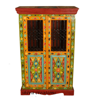 Antique Painted Wooden Furniture Indian Jali Cabinet Buy Wooden CabinetHand Painted Indian