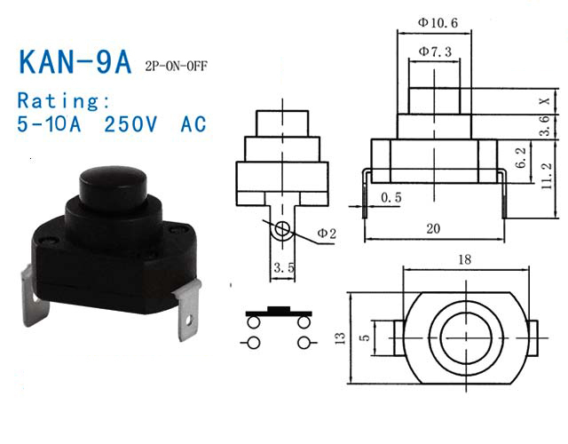6a High Current Tailcap Clicky Switch Push Button Switch