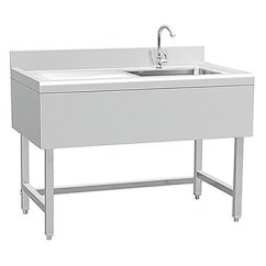 Single Sink Kitchen Cabinet Brands Reviews Commercial Restaurant Stainless Steel Table With Splash Back