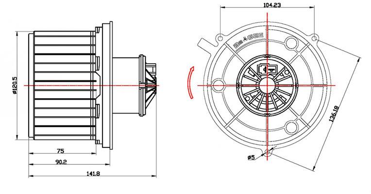Specification Car Blower Motor Fan Specification For