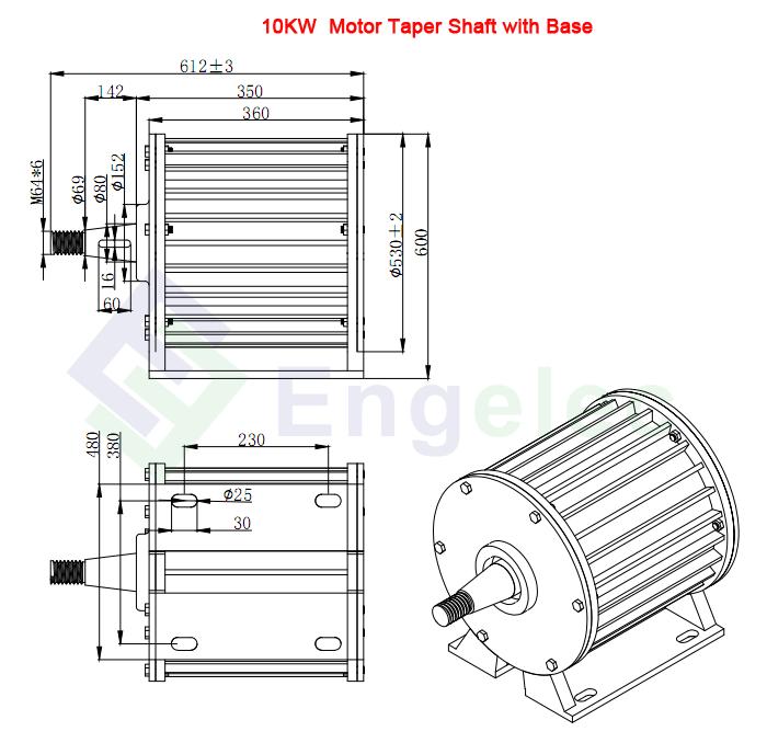 10kw 120v 220v 360v Motor Wind Generator Low Rpm 170 15kw