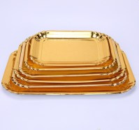 Custom Printed Round/rectangle Shape Gold Paper Plate ...