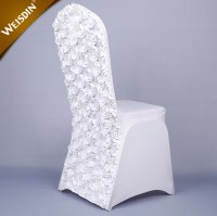 Fancy Banquet Party White Rosette Satin Chair Covers For ...
