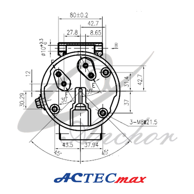 DC 12v Car AC Compressor, 6.4Kw, 5 cylinders, Renault
