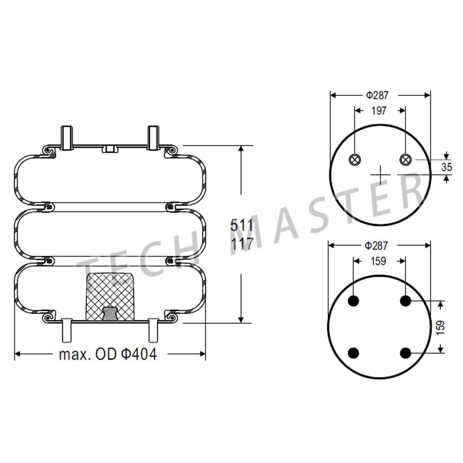 hight resolution of trailer air ride lifting air bag w01 358 7843 firestone triple convoluted air spring