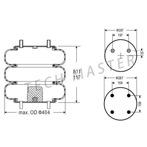small resolution of trailer air ride lifting air bag w01 358 7843 firestone triple convoluted air spring