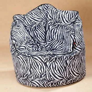 zebra print bean bag chair kids hair cutting chairs seat with armrest bulk buy