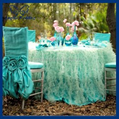 Chair Covers Wedding Buy Large Cushions Ch030b Fancy Ruffled Taffeta Tiffany Blue Cover With Crochet Flowers - ...