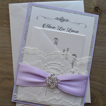 Light Purple Ribbon And Silver Glitter Wedding Invitation Cards With Reply Card Envelope Invitations In
