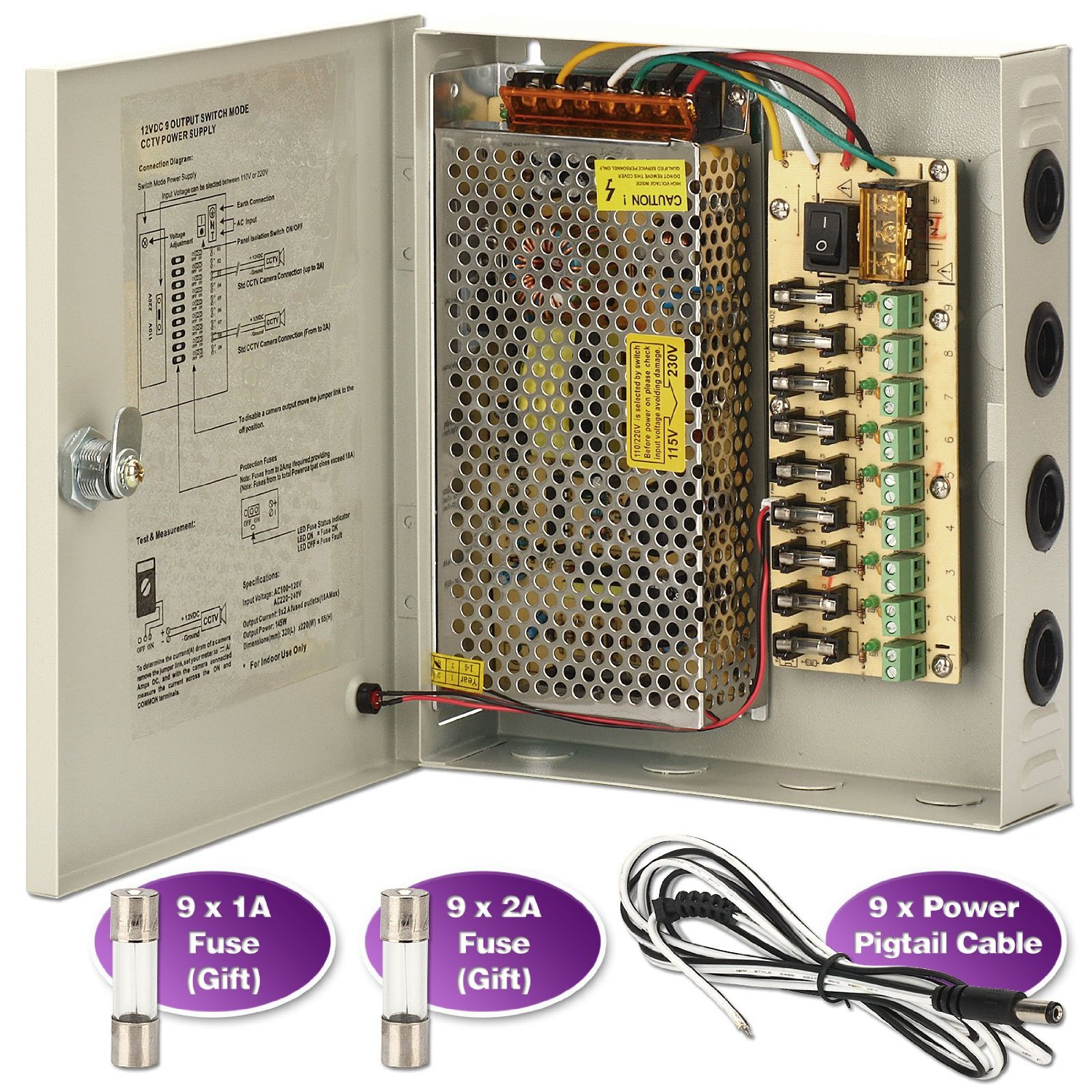 hight resolution of get quotations cctv power supply box zoter 9 port channel 15a distribution metal fuse ac 110