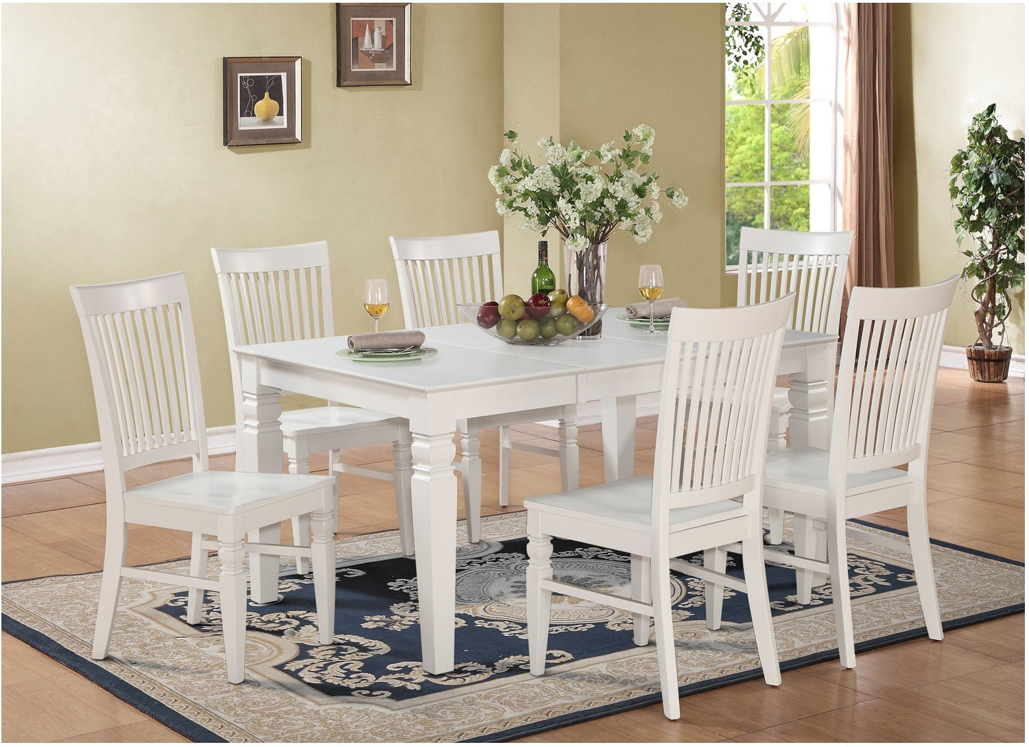 white 6 chair dining table gray folding chairs buy harmonizing linen wood set with 4
