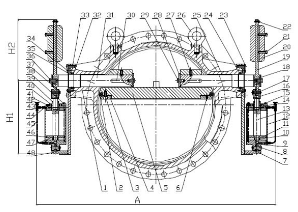 butterfly type check valve with double counterweight and
