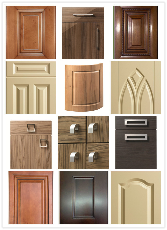 kitchen shutters door repair 18mm fancy mdf board vinyl wrapped pvc cabinet