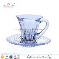 Small Crystal Glass Coffee Cup And Saucer Set - Buy Glass ...