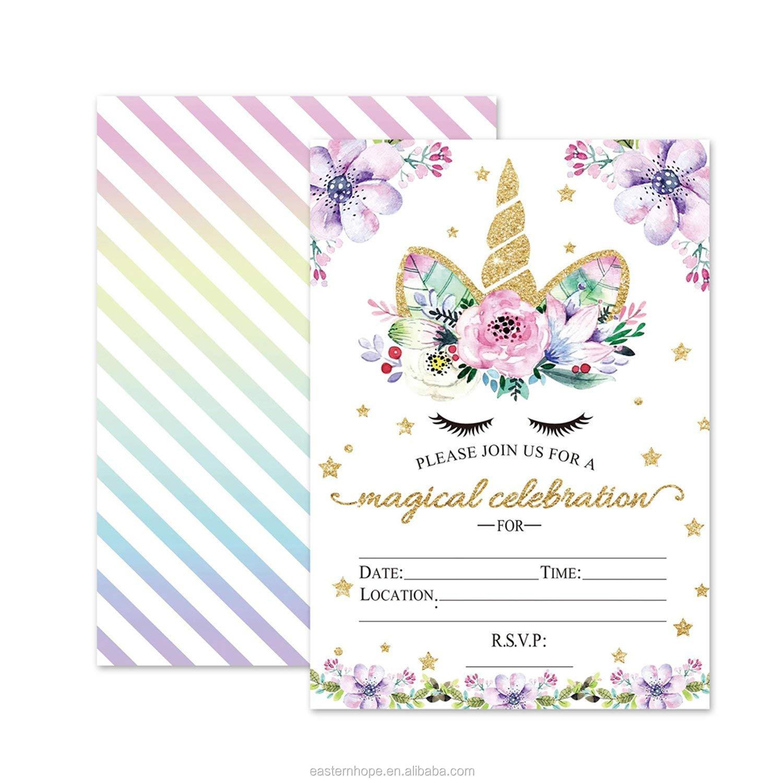 24 pack unicorn birthday invitations cards glitter unicorn invitations envelopes for kids birthday party buy kids birthday party invitations