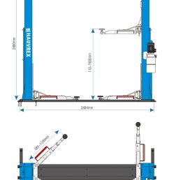 hauvrex 4 ton two post car lift with strengthening base 24v automatic control solenoid [ 772 x 1158 Pixel ]