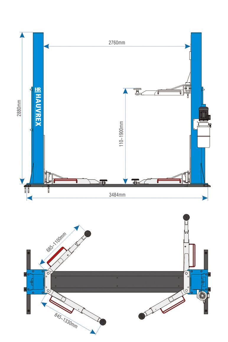 hight resolution of hauvrex 4 ton two post car lift with strengthening base 24v automatic control solenoid