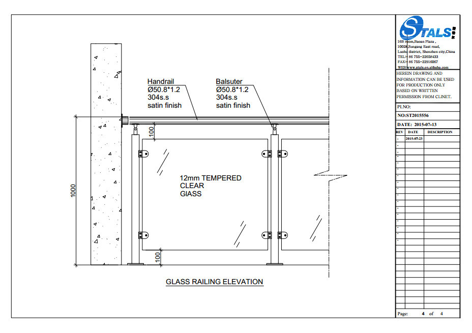 Factory Custom Tempered Glass Railing Balcony Railing