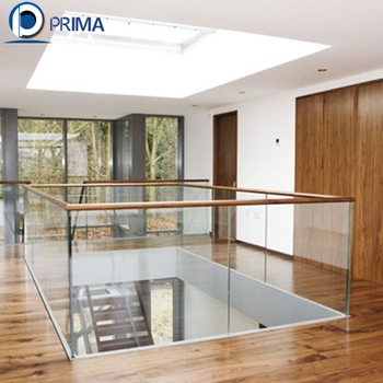 Interior Deck Modern Design Aluminum U Channel Glass Railings With | Glass Railing With Wood Handrail | Modern | Interior | Panel | Metal | Residential