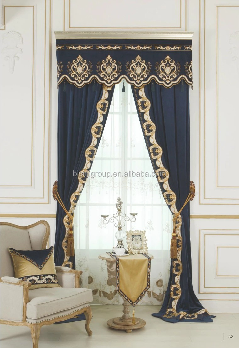 Interior Grandeur Luxurious Victorian Style Sapphire Curtain And Valances Bf11 09273c  Buy