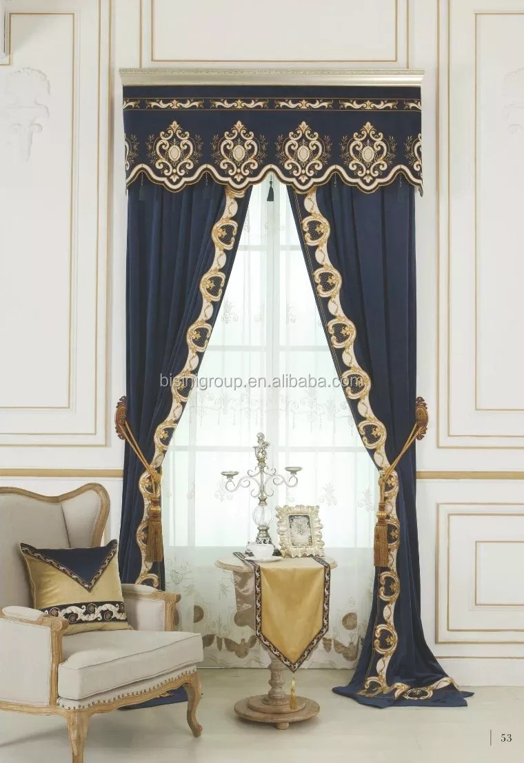 Interior Grandeur Elegant French Suburban Style Blue And Gold Curtain And Valances Bf11 09273b Buy French Curtain Valances Custom Curtain