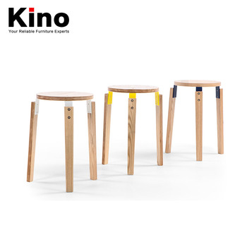 small round chair shower chairs for disabled japanese contracted solid wood stool white oak furniture stacked modern