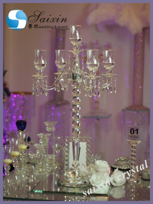 5 Arms Clear Crystal Candle Stand Used Wedding Zt-101