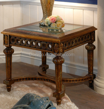 wood side tables living room design ideas blue brown exquisite carved wooden table antique gold painting coffee with glass top classical