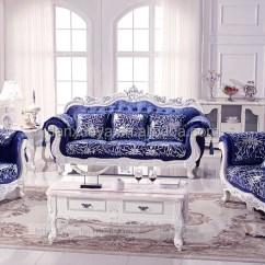 Luxury Living Room Furniture Sets Pit Group Royal Elegant Blue Velvet Sofa Set For Sale