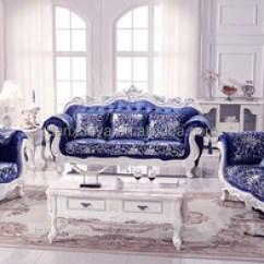 Living Room Furniture Sale Bean Bag Luxury Royal Elegant Blue Velvet Sofa Set For