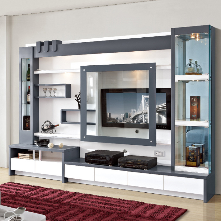 Living Room Furniture Wood Lcd Tv Wall Unit Design