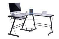 Clear Glass Computer Desk L Shape Corner Desk Table Dx ...