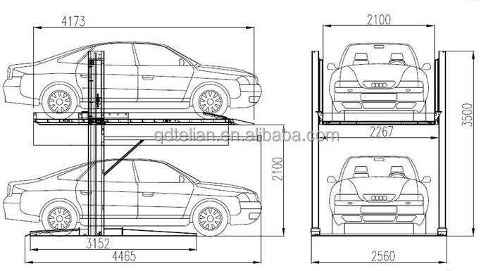 Two Cars Underground Parking Garage Basement Car Stack