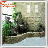 Indoor Fiberglass Modern Rock Garden Stone Water Fountain