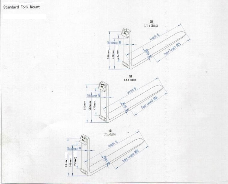 Manufacturer Forklift Parts Manual Forks For 2.5ton-6ton