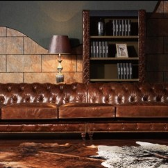 Long Sofas Leather Reclining Mage Sofa Top Quality 3 Seaters Vintage Chesterfield