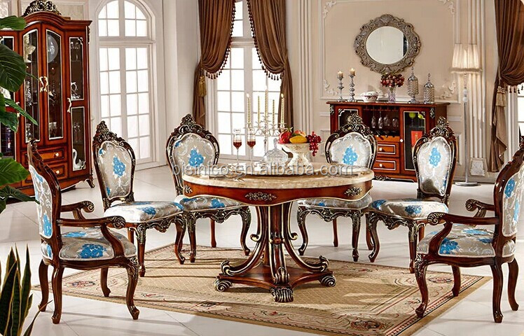 European Style Luxury Dining Set Round Dining Table And