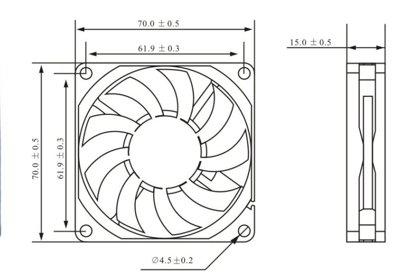 70x70x15mm Waterproof 5v 12v 24v Radiator Axial Cooling Dc