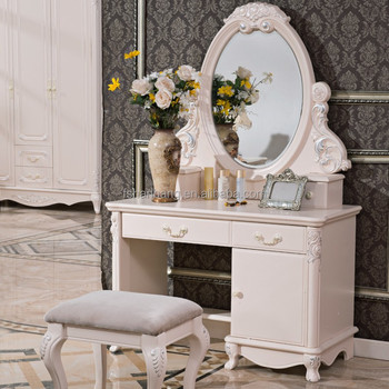 Modern Ivory White French Design Wooden Dressing Table