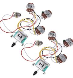 get quotations electric guitar wiring harness prewired kit 5 way toggle switch 250k 2t1v pots for strat parts [ 1200 x 1200 Pixel ]