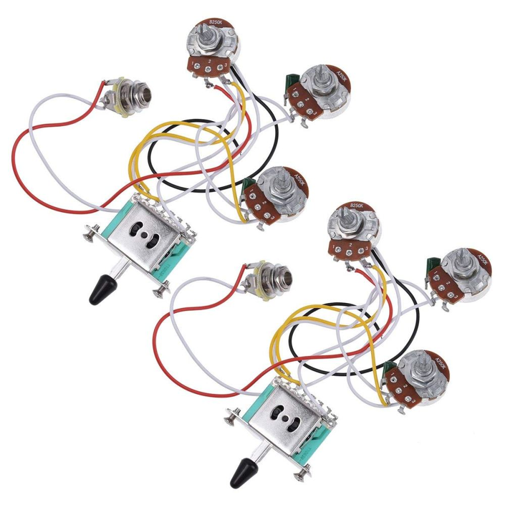 medium resolution of get quotations electric guitar wiring harness prewired kit 5 way toggle switch 250k 2t1v pots for strat parts