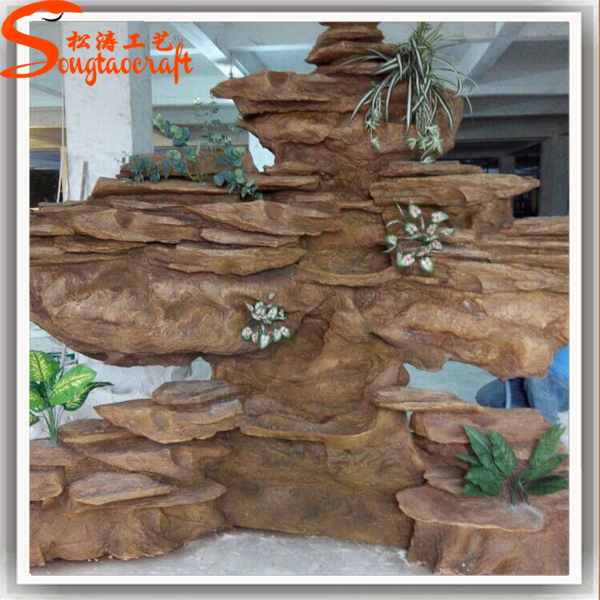 New Products Home Decor Fiberglass Artificial Rock Waterfall With