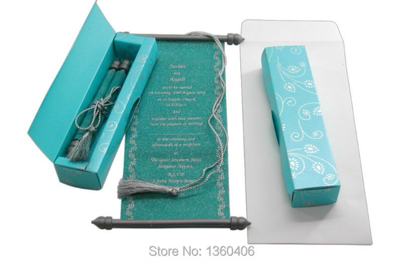 Scroll Wedding Invitations Card Whole Party India Blue Luxury Royal With Box