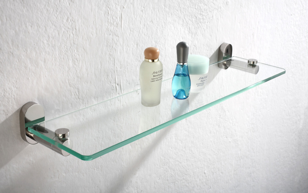 new design bathroom wall fitting accessories glass shelf with metal base 1205 buy glass shelf decorative glass wall shelf stainless steel shower