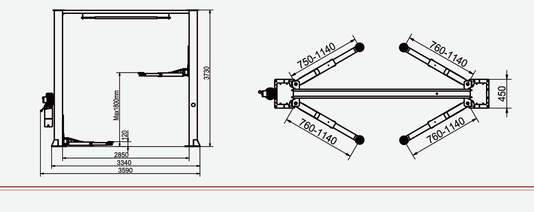 hight resolution of standard car lift hydraulic two post junhv jh 4000c with ce certification for car lifting