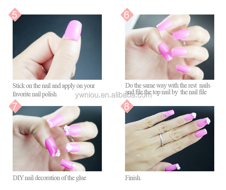 3d Design Sharp Nail Tips Clear Triangle French Fake Nails