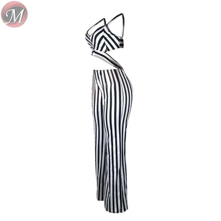9031220 Striped Sleeveless Cut Out Wide Leg Women Sexy