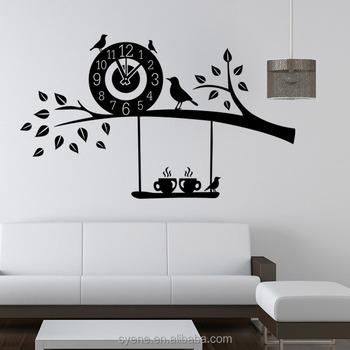 d art custom vinyl wall sticker clock flying birds tree branch wall
